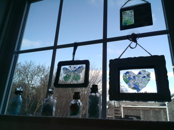 SeaGlass Collections in Found Bottles and Seaglass Windows