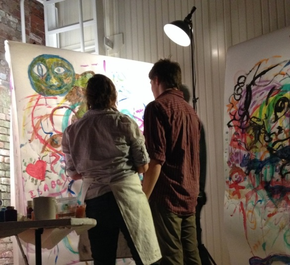 Danielle Mulcahy (pictured) and Darcie Lee Hananway led live painting for everyone to join in.